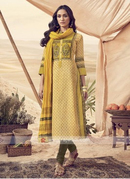 Shagufta Yellow Cotton Churidar Salwar Suit