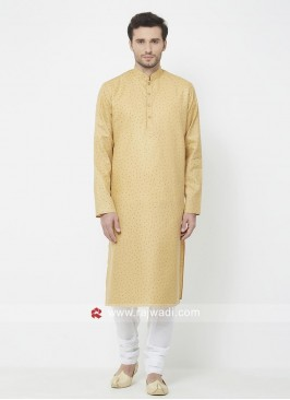 Yellow Cotton Fabric Mens Kurta Set