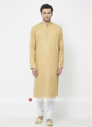 Yellow Cotton Fabric Mens Kurta Set