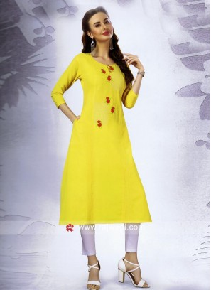 Yellow Cotton Kurti with Pocket