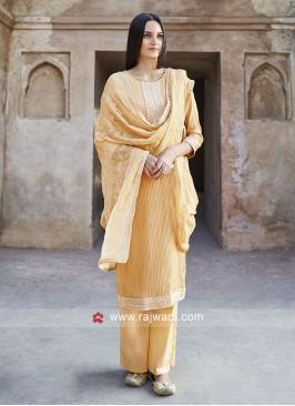 Yellow Cotton Salwar Suit With Chiffon Dupatta