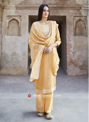 Yellow Cotton Salwar Suit With Chiffon Dupatta