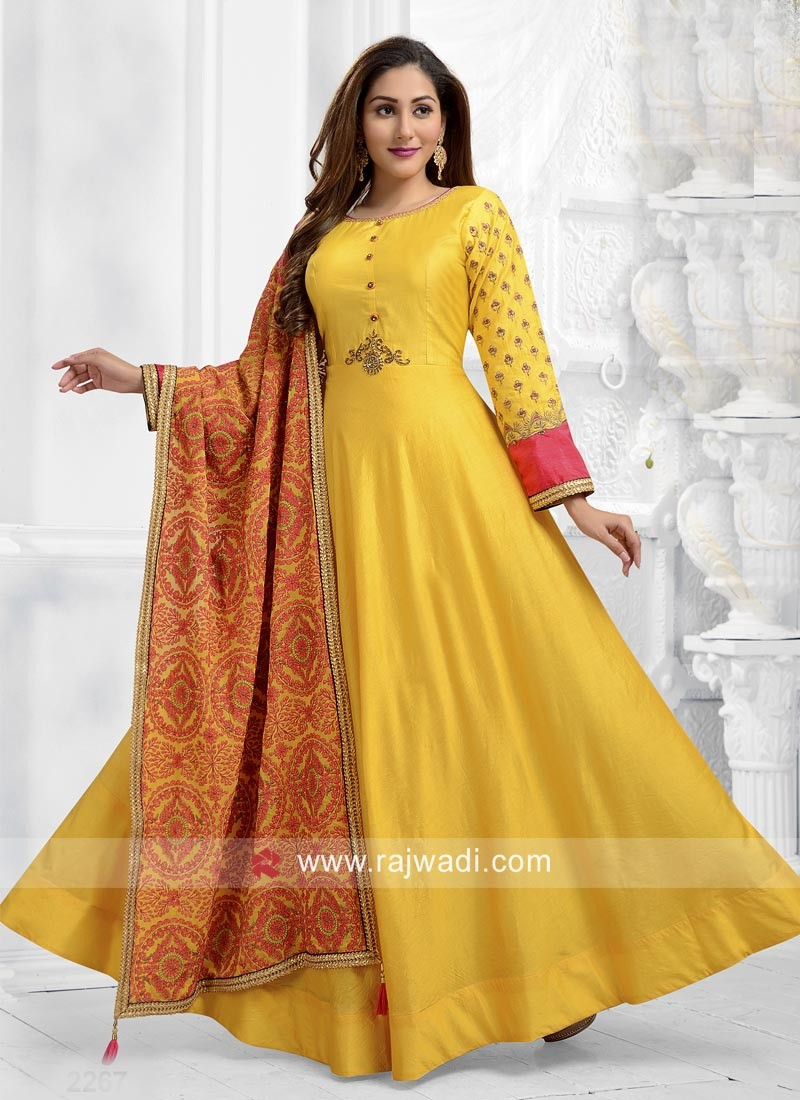 Yellow Cotton Silk Anarkali Dress