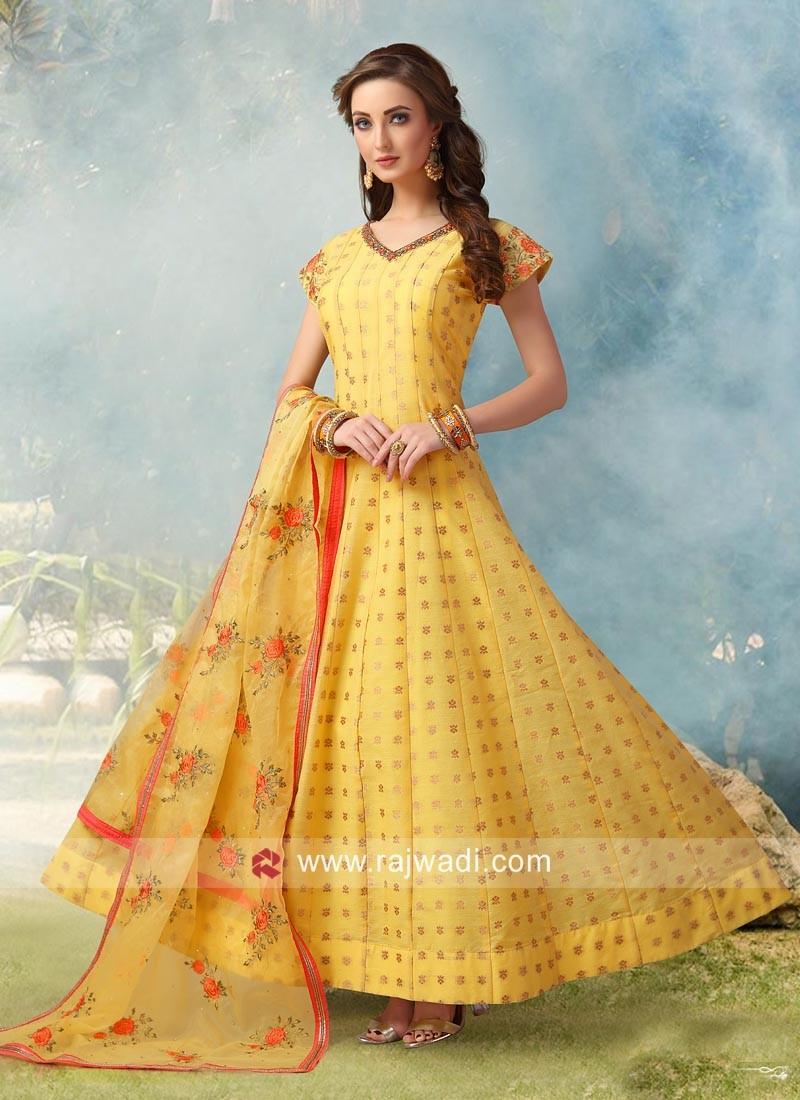 Yellow Cotton Silk Anarkali Salwar Suit
