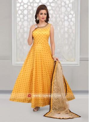 Yellow Cotton Silk Anarkali Suit