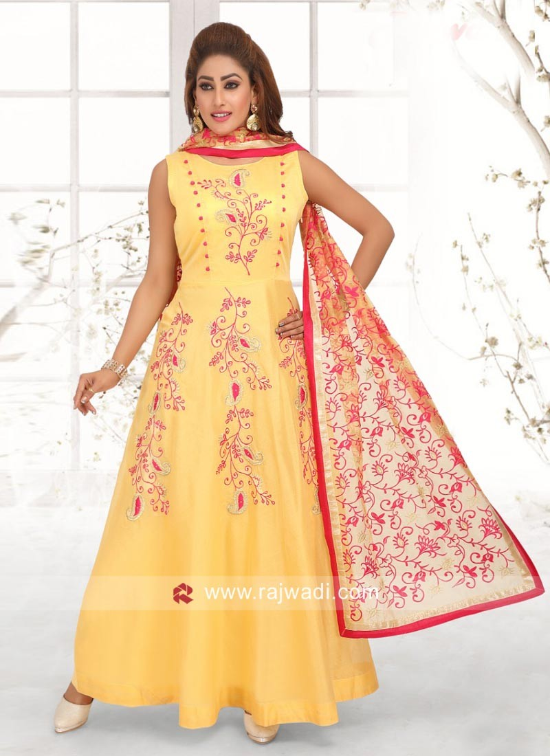 Yellow Cotton Silk Anarkali Suit