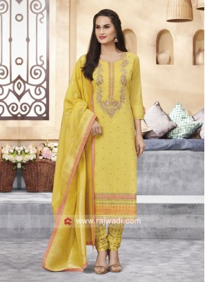 Yellow Cotton Silk Churidar Suit
