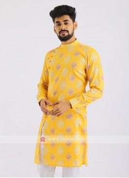 Yellow Cotton Silk Printed Kurta