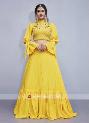 Yellow Crepe Silk Indo Western Lehenga Set