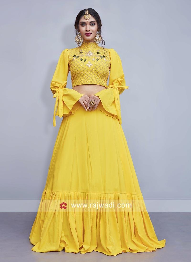 Yellow Crepe Silk Indo Western Lehenga Set