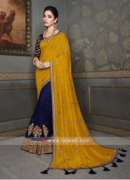 Yellow & Dark Blue Color Saree