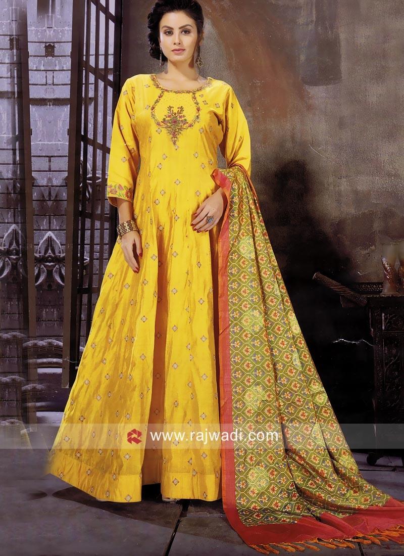 Yellow Designer Anarkali Suit