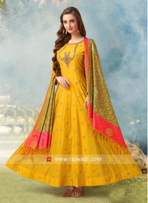 Yellow Embroidered Anarkali Salwar Kameez