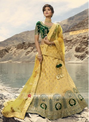 Yellow Embroidered Lehenga Choli