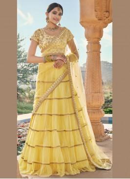 Yellow Embroidered Trendy Lehenga Choli
