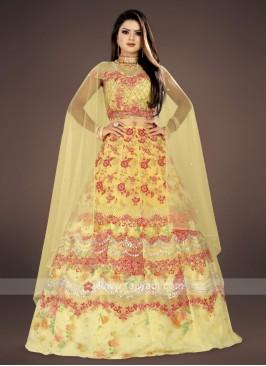 yellow embroidery lehenga choli suit