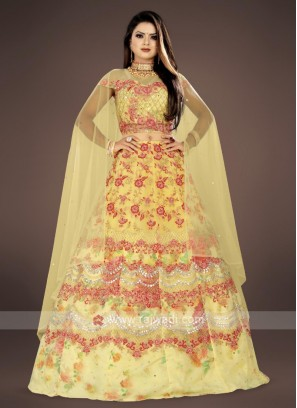 yellow embroidery lehenga choli suit
