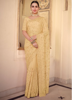 Yellow Faux Chiffon Embroidered Traditional Saree