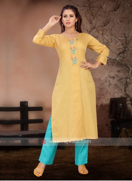 Yellow & Firozi Color Kurta Set