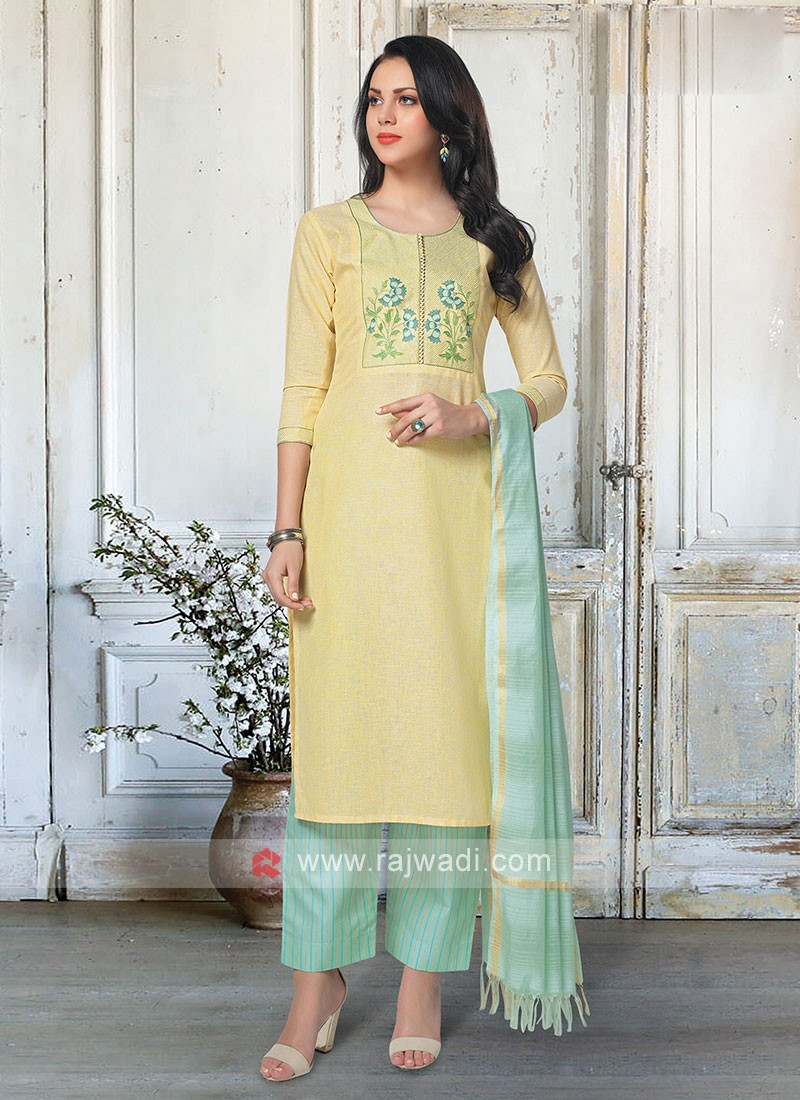 Yellow & Firozi Color Palazzo Suit