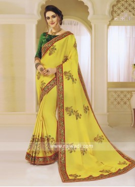 Yellow Flower Embroidered Saree