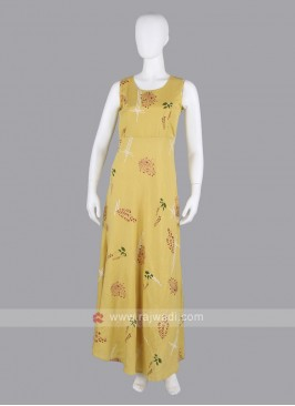Yellow Flower Print Maxi Dress