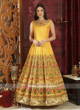 Semi Stitched Yellow Flower Work Designer Gown in Silk