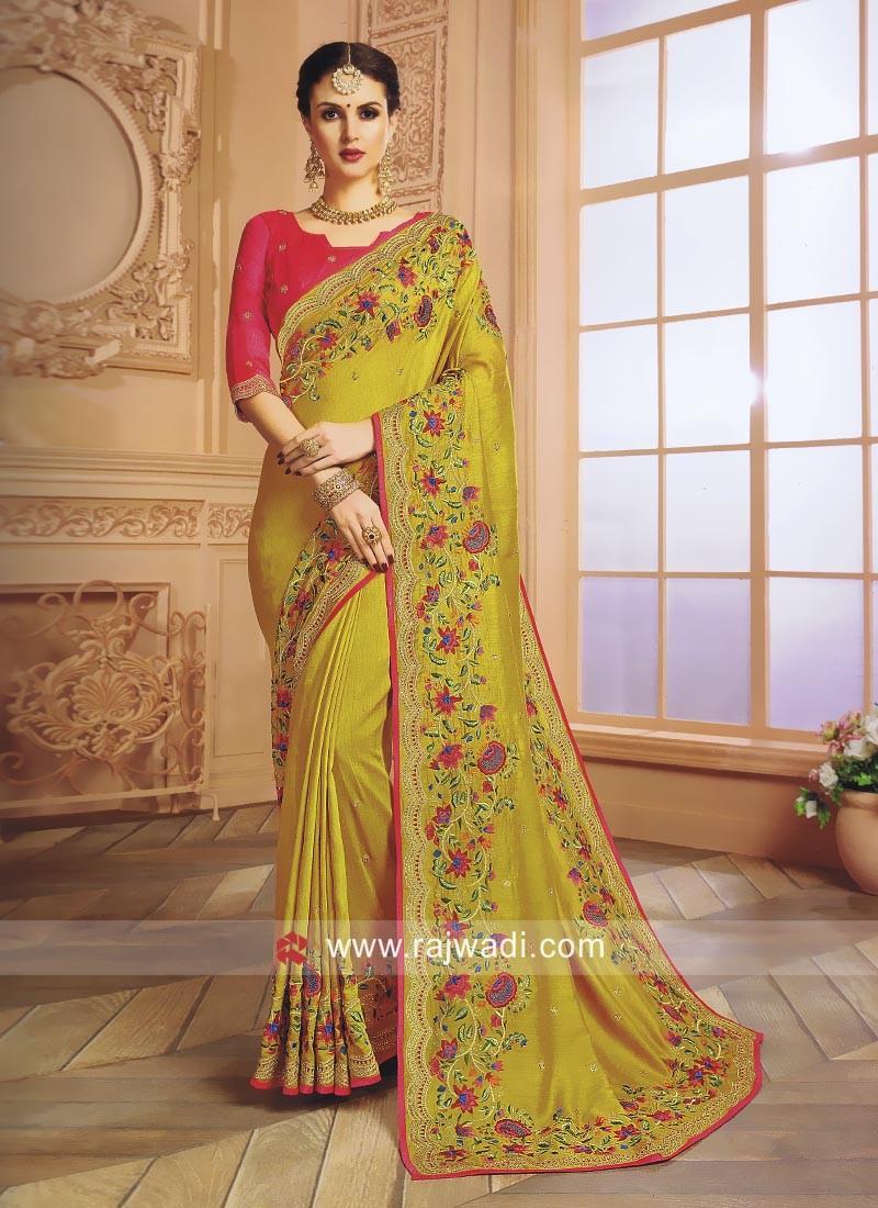 Yellow Flower Work Wedding Saree