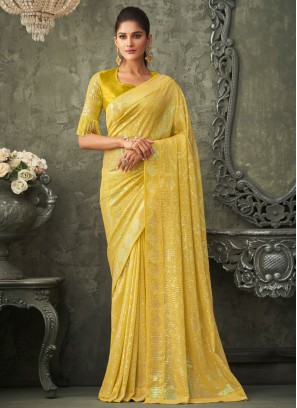 Yellow Georgette Sequins Traditional Saree