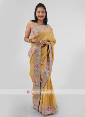 Yellow Gota Patti Shimmer Silk Saree