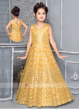 Yellow Gown For Girls