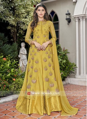 Yellow Green anarkali suit with attached jacket