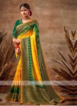 Yellow & Green Bandhani Saree