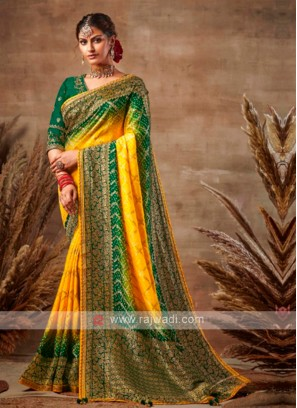 Yellow & Green Bandhani Saree