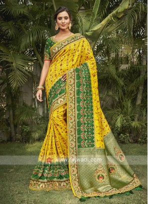 Yellow & Green Color Silk Traditional Saree