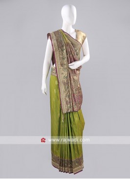 Yellow Green Silk Sari with Blouse