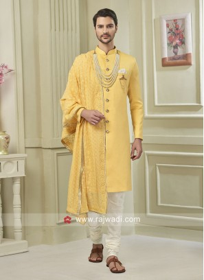 Yellow Indo Western For Wedding