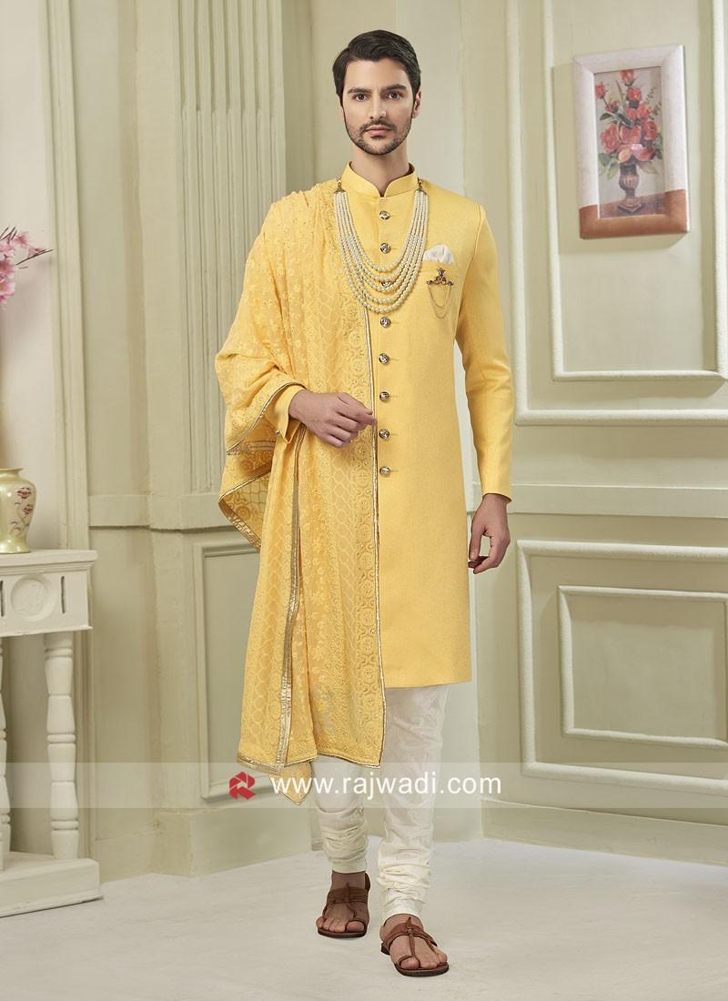Yellow Indo Western For Wedding