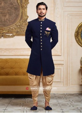Navy Indo Western with Stand Collar