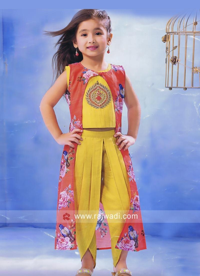 Yellow Kids Dhoti Suit with Stylish Jacket
