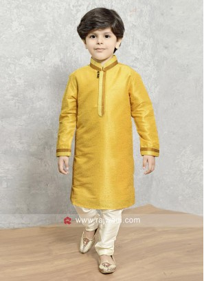 Yellow Kurta with Off White Bottom