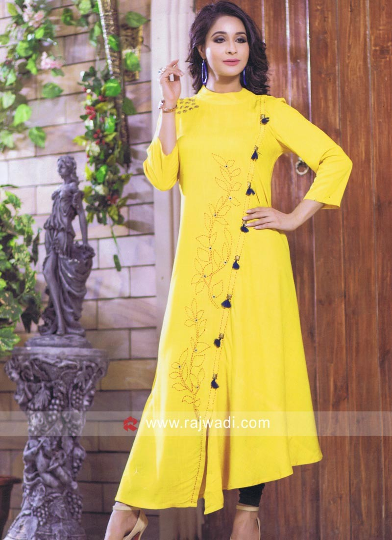 Yellow Layered Kurti with Buttons