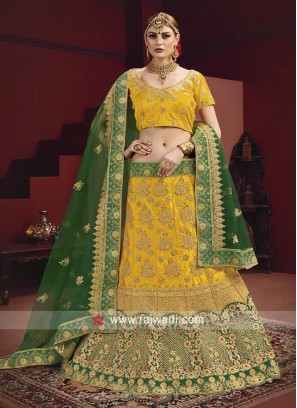 Yellow Lehenga Choli With Green Dupatta