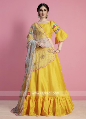 Yellow Lehenga Choli with Net Dupatta