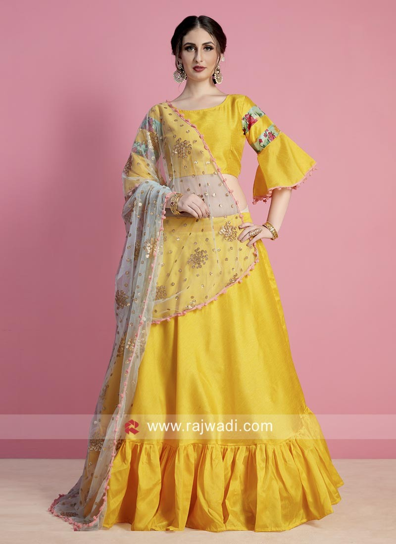 Yellow Lehenga Choli with Net Dupatta