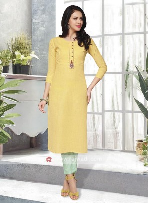 Yellow & Light Green Kurta Set