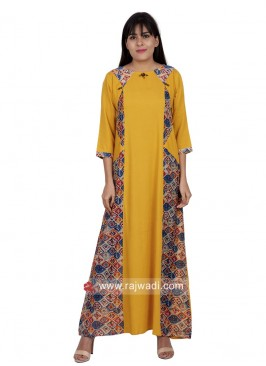 Yellow Long Kurti with Sleeves