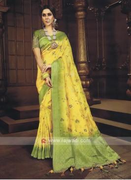 Yellow & Mehndi Green Shaded Saree