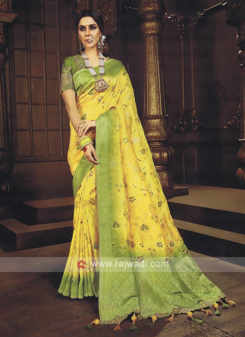 Yellow & Mehndi Green Shaded Saree
