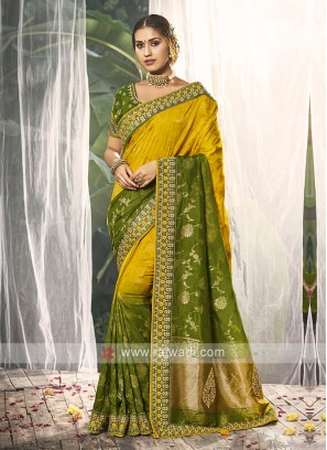 Yellow & Mehndi Green Traditional Silk Saree